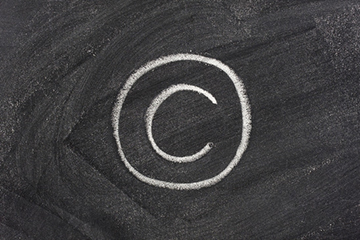 copyright symbol on blackboard