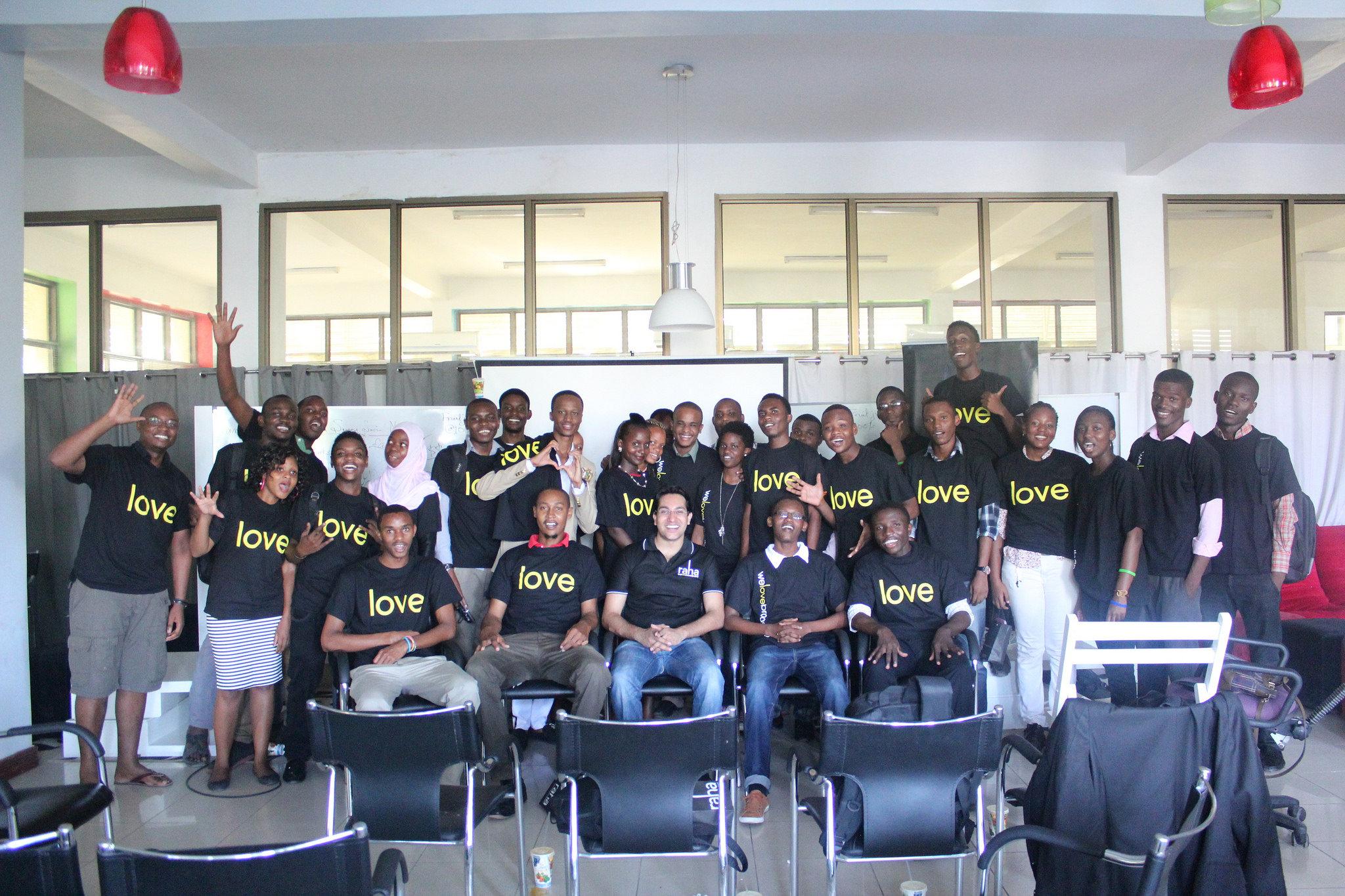 Participants in the Tanzania Super Social Networkers Project show some LOVE for Buni Hub.